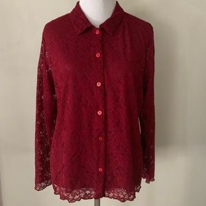 Susan Bristol Vintage Lace Sheer Button Down Top